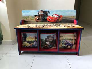 Disney CARS Kid's Storage Table with Boxes Compartments cum Bench