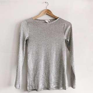 H&M silver long-sleeves top