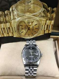 Preowned~ Rolex datejust 16234 36mm case, black dial F series , Jubilee bracelet watch only