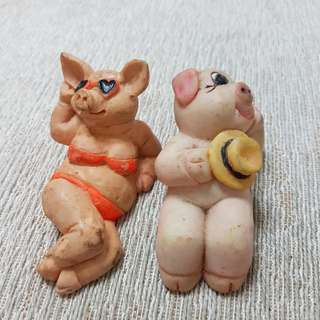 🚚 日光浴夫妻豬~歐洲遊玩時購入裝飾品