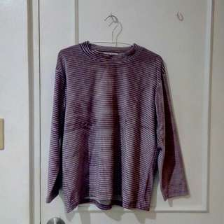 Velvet long-sleeved shirt (purple)
