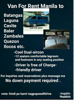 Cheapest Van for Rent with driver
