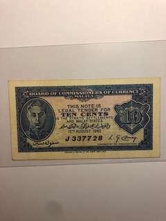 1940 Straits Settlements 10 cents J 337728 EF