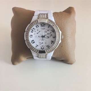 White GUESS Watch with Crystals