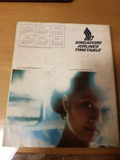 1973 singapore airlines SIA Timetable book
