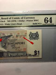 Singapore Bird $1 D/32 111111 Golden Solid number with PMG 64.