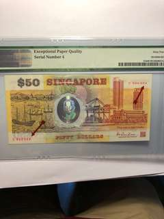 Singapore polymer commemorative $50 C000004 Low number PMG 64 EPQ(RARE!!)