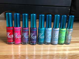 Fine tip nail polish Set of 9
