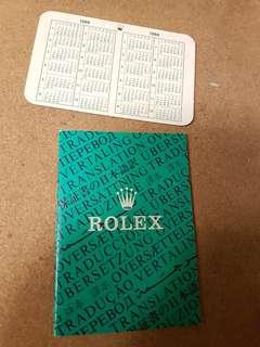 1988 Rolex Oyster pocket calendar & booklet