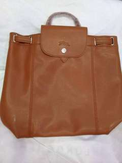 Longchamp leather bagpack with box