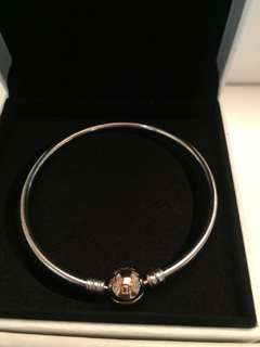 Pandora Rose Gold with Sterling Silver Bangle 19cm