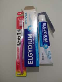 Elgydium toothpaste antiplaque and Lion brand toothbrush