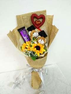 Graduation Bear Bouquet Artificial $25