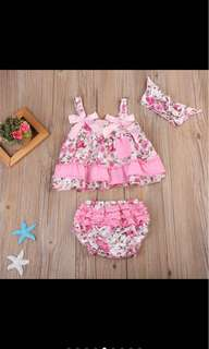 Baby girl kid infant newborn toddler summer dress bloomer headband set