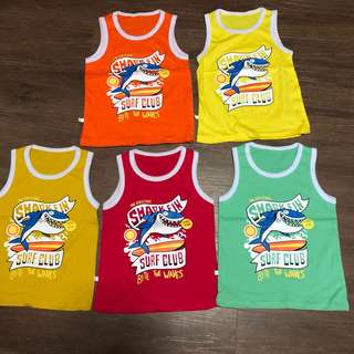 Brand new Baby Singlets shark designs in 5 colours