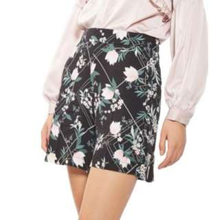Topshop Mixed Blossom Pleated Shorts