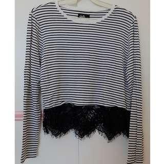 Dotti Stripe and lace shirt