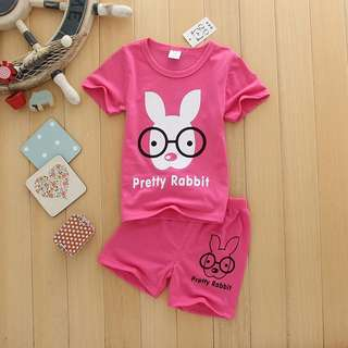 2 Piece Set rabbit with spec cute little girl clothes set  baby toddler kids short sleeve and shorts