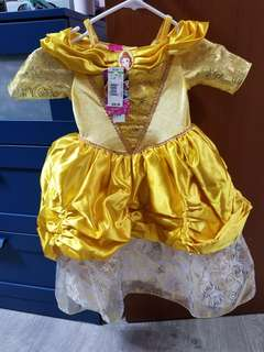 Disney deluxe belle costume gown dress with head band crown tiara
