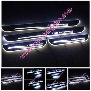 White Sweeping Glowing Animated BMW M Performance SUV X3 X4 X5 X6 Moving Running Illuminated LED Door Sill Scuff Plates