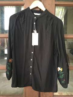 Black Flower Embroidery Shirt