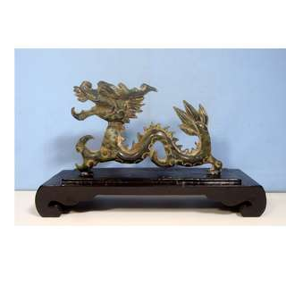 Vintage hand carved stone dragon on display wood stand circa 1960s
