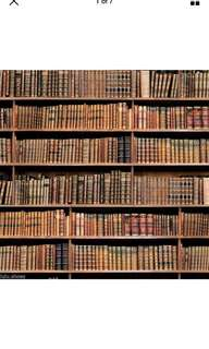 Rare book wall paper in cotton digital print.