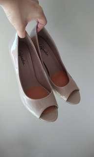 Pleather nude peep-toe heels - sz8