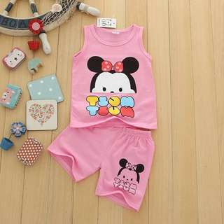 Brand new tsum tsum 2-5yr old singlet set with shorts clothes toddler kids girls