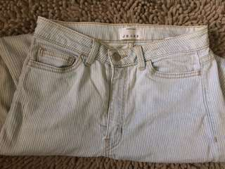American Apparel High Waist Strip Jeans