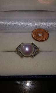 Real south sea pearl ring with diamond titus