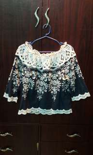 Off Shoulder Blouse (Blue)