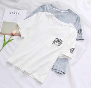 <PO> casual tee/t-shirt cat Embroidered