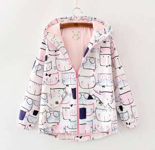 <PO> oversized cat design jacket