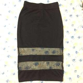 Pencil skirt with see thru Mesh detail