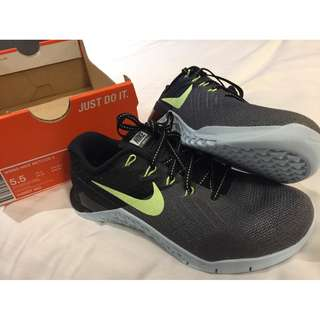 Nike AUTH womens Metcon 3 black running training shoes sneakers US 5.5 BNEW
