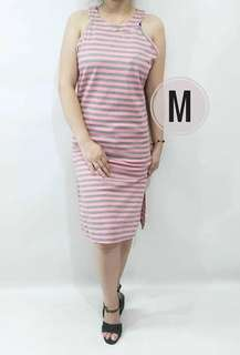 Stripe cotton dress freesize fit S to L