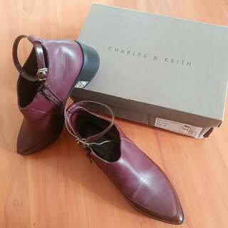 Charles & Keith maroon ankle boots