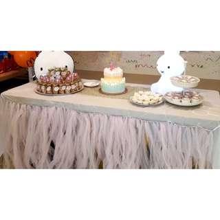 Pink tulle tutu table skirting (rental)