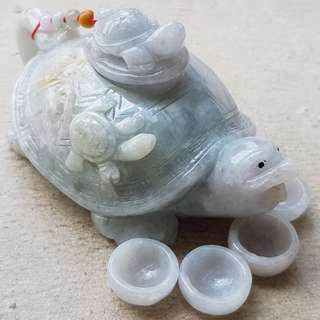 Certified Type A Grade Jadeite Teapot Display Set Grade A Myanmar 100% Natural Green Jade Tortoise 长命百岁