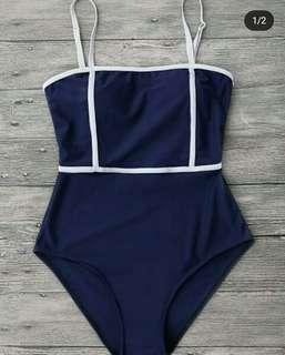 Blue One Piece Swimwear