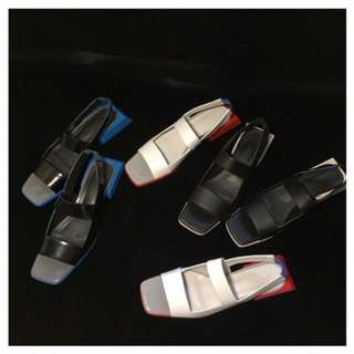 VM 定制復古方頭 鏤空拼色 露趾斜跟 幾何設計感低跟涼鞋 3色