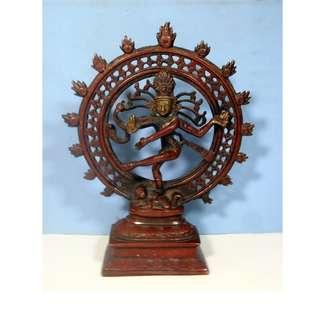 Vintage bronze brass Lord Shiva Nataraja Dance King Deity Statue circa 1960s