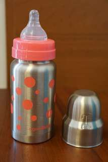 (全新)粉紅點點不鏽鋼奶瓶