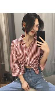 ulzzang red and white striped long sleeved shirt