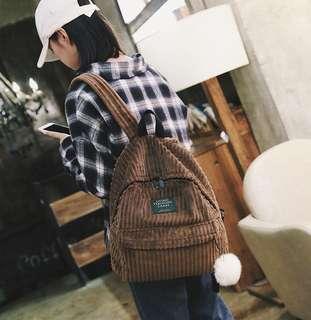 Cordoroy backpack (brown)