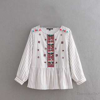 European and American ball embroidery striped shirt