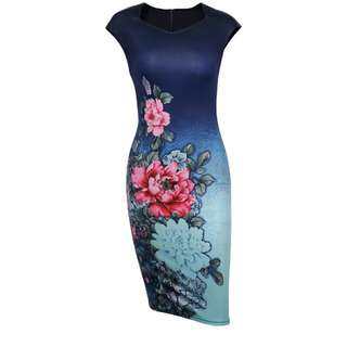Sleeveless Cheongsam Office Dress With Fading Color