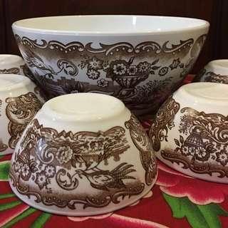 Vintage Rivanel Glass Porcelain Bowls