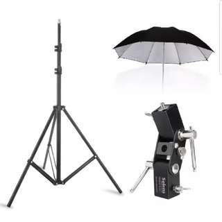 Ring Light + Light Stand + Umbrella + Flash Shoe Complete Set